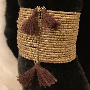 Cuff Bracelet Golden Beaded Wires W/Brown Tassels